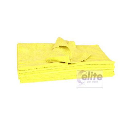 Elite Zero Edge Yellow Microfibre Buffing Cloths - Pack of 10