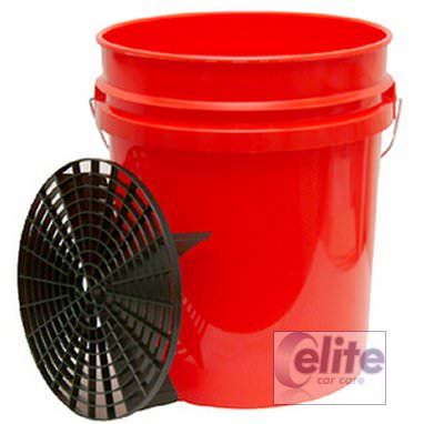 Elite Premium 5 US Gallon Red Bucket and Grit Guard