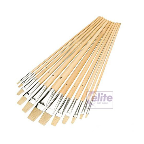 Elite Interior Fine Detailing Flat Tipped Brushes - Pack of 12